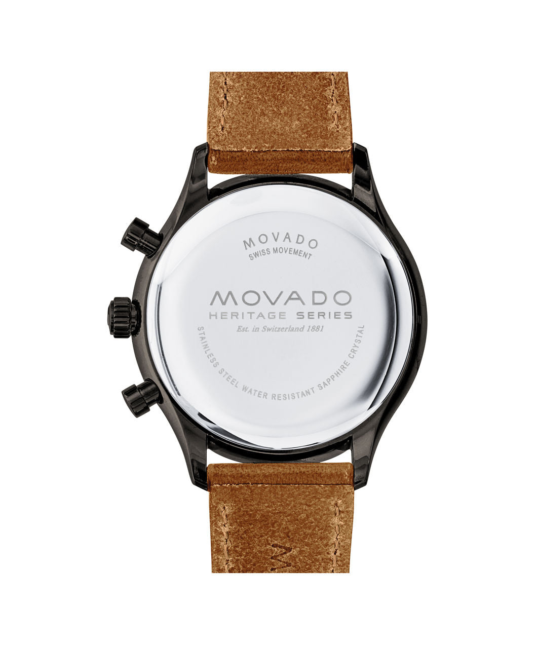 Movado Heritage Series Cognac Leather Strap Black and White Face 3650022