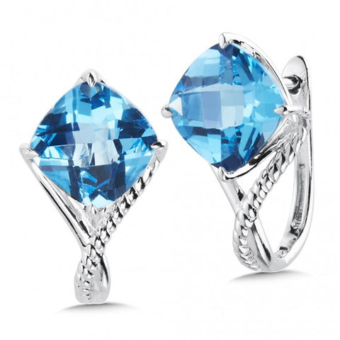 Color SG - Blue Topaz Huggie Earrings