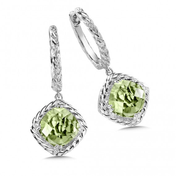 Color SG - Green Amethyst Dangle Hoop Earrings