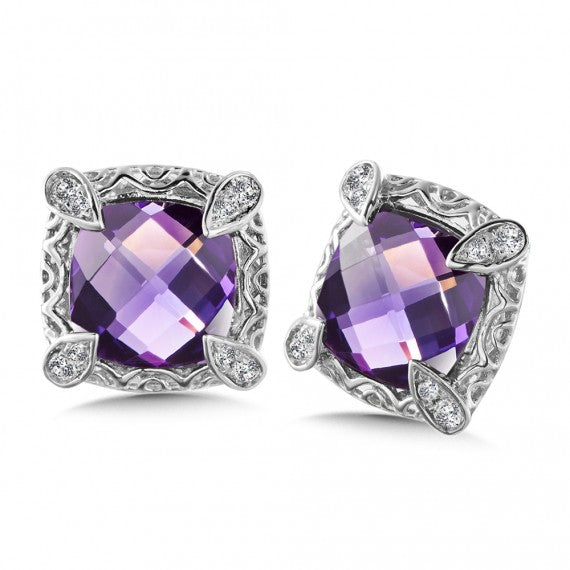 Color SG - Amethyst & Diamond Earrings