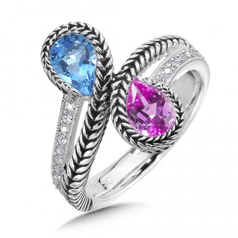 Color SG - Pink Sapphire & Blue Topaz Diamond Ring