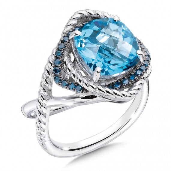 Color SG - Blue Topaz and Blue Diamond Ring