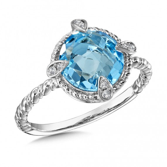 Color SG - Blue Topaz & Diamond Ring