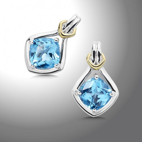 Color SG - 18K Gold and Blue Topaz Earrings