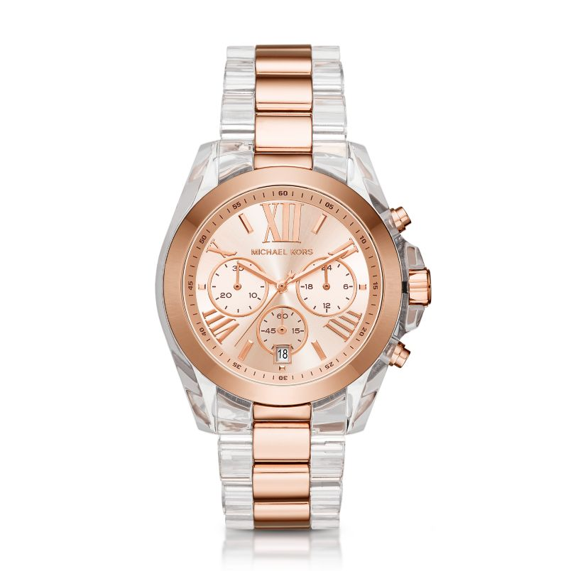 Michael Kors Rose Gold-Tone and Clear Acetate Women's Watch