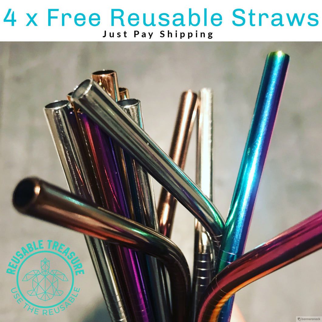 4 x FREE Colorful Reusable Stainless Steel Straws with Cleaner Brush