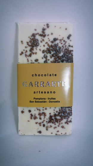 Tableta de chocolate blanco con peta crispy