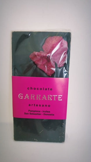 Tableta de chocolate 80% cacao con rosas