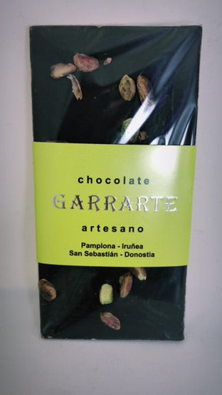 Tableta de chocolate 80% cacao con pistachos