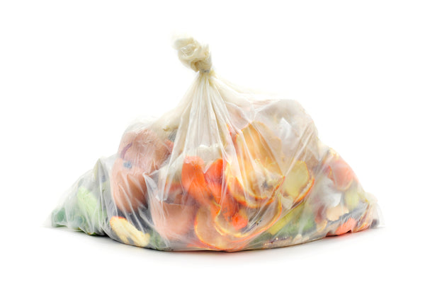 kitchen food waste scraps in a single use plastic bag rawmate australia