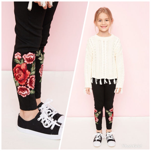 Girl's Embroidered Leggings