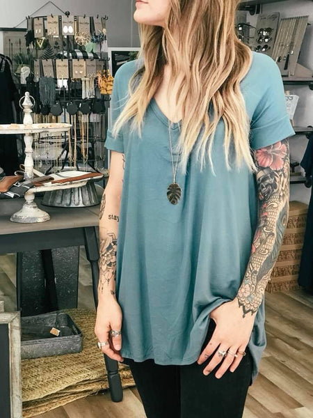Teal Criss Cross back Top