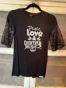Poor Pitiful Pearl Peace Love and Country Music tee