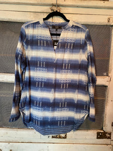 Blue Aztec tunic w/Roll Sleeve