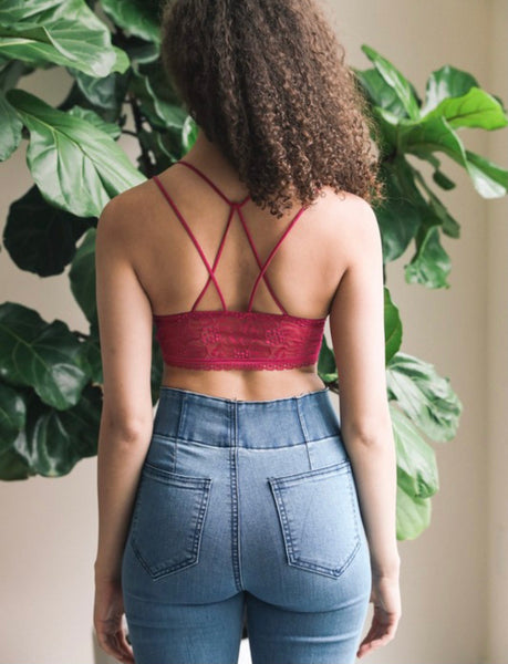 Strappy Back Geometric Bralette