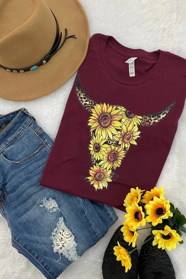 Sunflower Steer Skull graphic tee