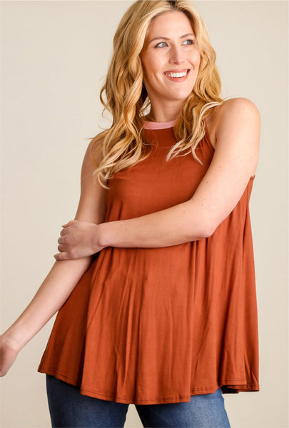 Burnt Orange Tank w/ Contrast Neckline
