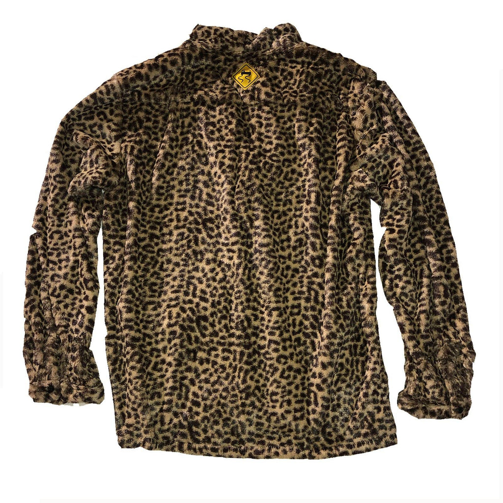 The Skidz Smoking Jacket is a modern take on the classic smoking jacket. It has a draped fit with deep pockets on both sides. It can be worn open or buttoned.   Baby Cheetah is a faux fur material that is super soft, comfy, and cozy.   All Skidz garments are produced on a limited run. Each fabric is unique and limited in availability and may not be reproduced again.  -- Baby Cheetah is made of faux fur  deep side pockets unisex 100% polyester made in the US