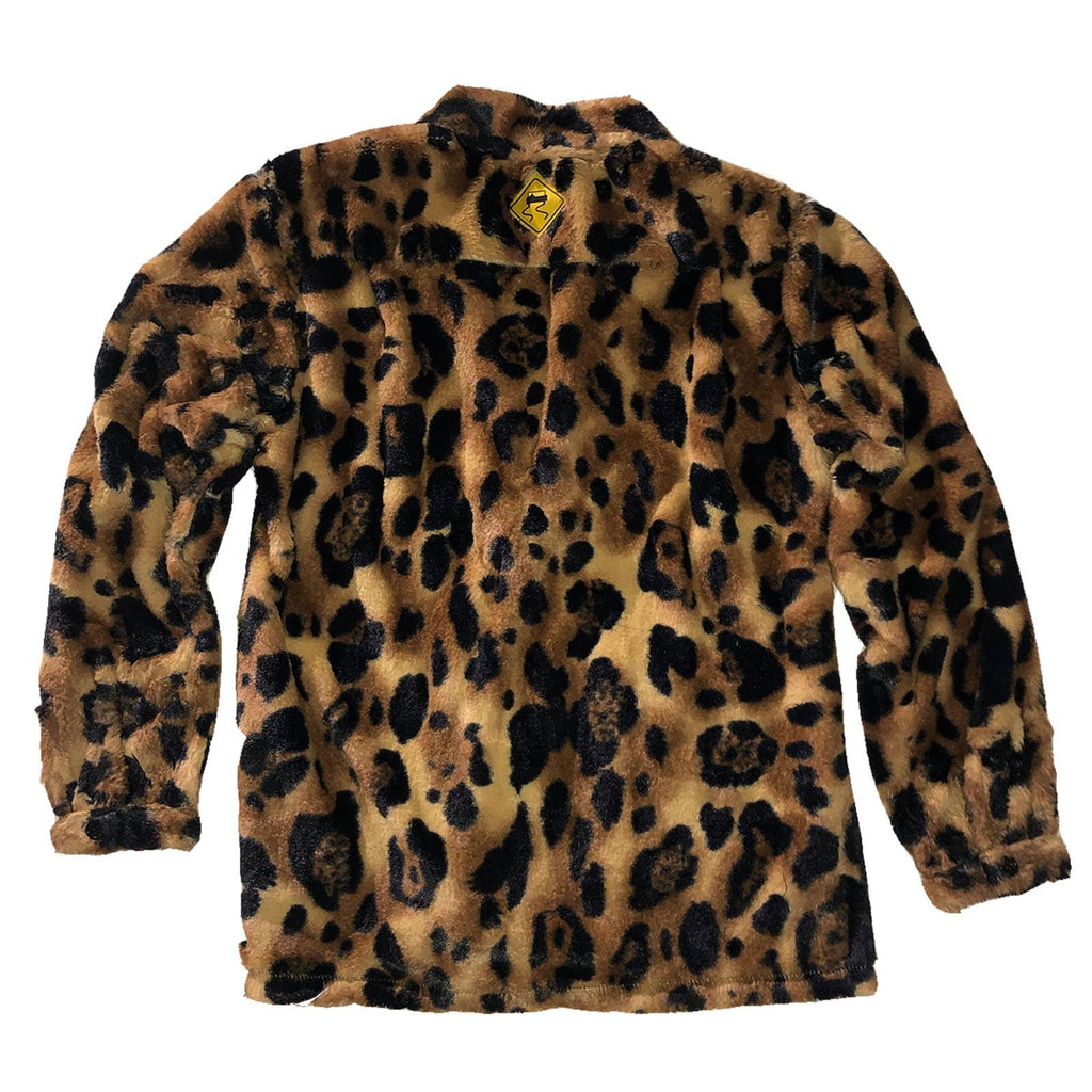 The Skidz Smoking Jacket is a modern take on the classic smoking jacket. It has a draped fit with deep pockets on both sides. It can be worn open or buttoned.   Big Cat is a faux fur material that is super soft, comfy, and cozy.   All Skidz garments are produced on a limited run. Each fabric is unique and limited in availability and may not be reproduced again.  -- Big Cat is made of faux fur  deep side pockets unisex 100% polyester made in the US