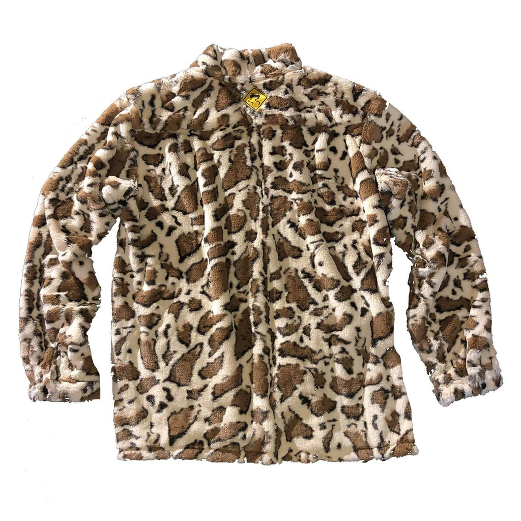 The Skidz Smoking Jacket is a modern take on the classic smoking jacket. It has a draped fit with deep pockets on both sides. It can be worn open or buttoned.   Giraffe is a faux fur material that is super soft, comfy, and cozy.   All Skidz garments are produced on a limited run. Each fabric is unique and limited in availability and may not be reproduced again.  -- Giraffe is made of faux fur  deep side pockets unisex 100% polyester made in the US