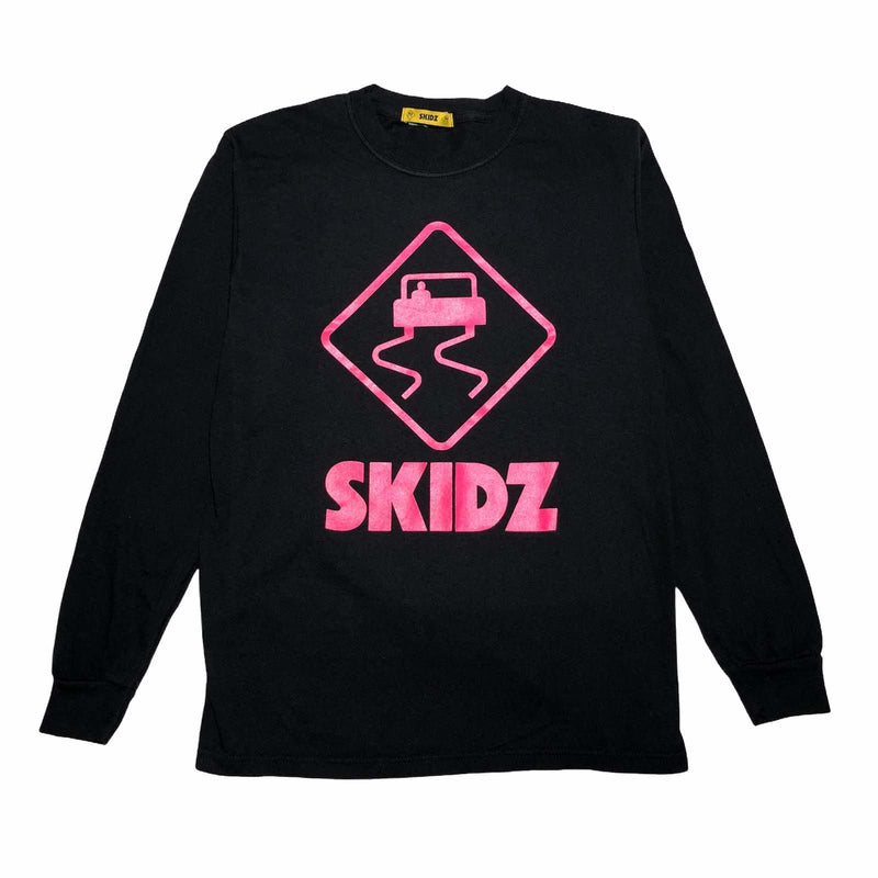 Skidz electric pink logo on black long-sleeve tee. Printed on a soft-washed, garment-dyed cotton.   electric pink logo printed on black tee  long sleeve, crewneck  soft-washed, garment-dyed  100% ring spun cotton  fit is true to size