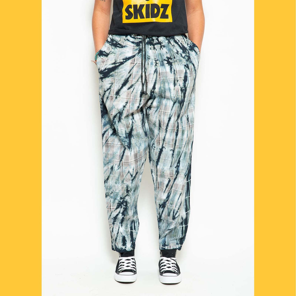 SKIDZ NYC Pants Midnight Black Tie-Dye Plaid (RESTOCKED)