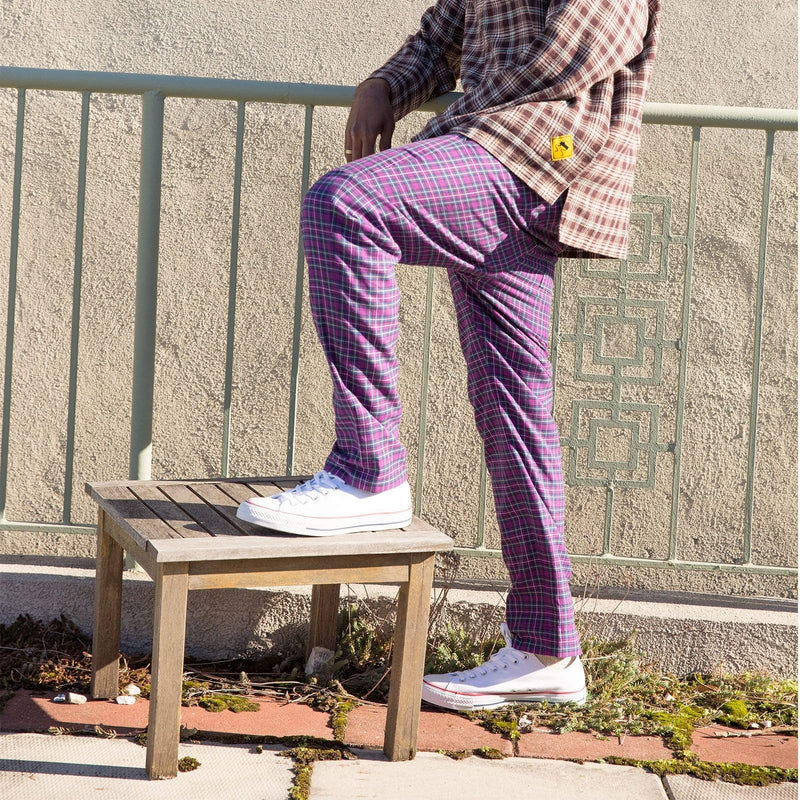 Purple Plaid Lined Pant - SKIDZ