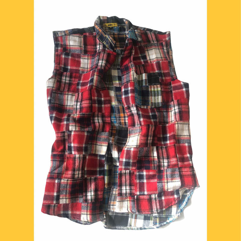 Patchwork Shirt Vest - Red - SKIDZ