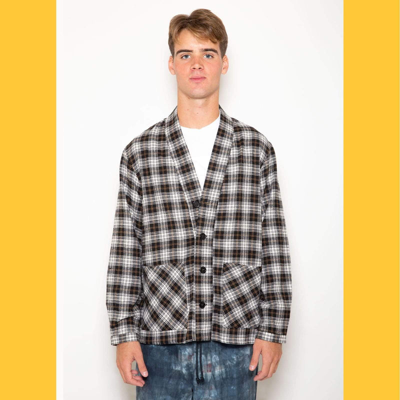 Smoking Jacket - Black & White Tartan - SKIDZ