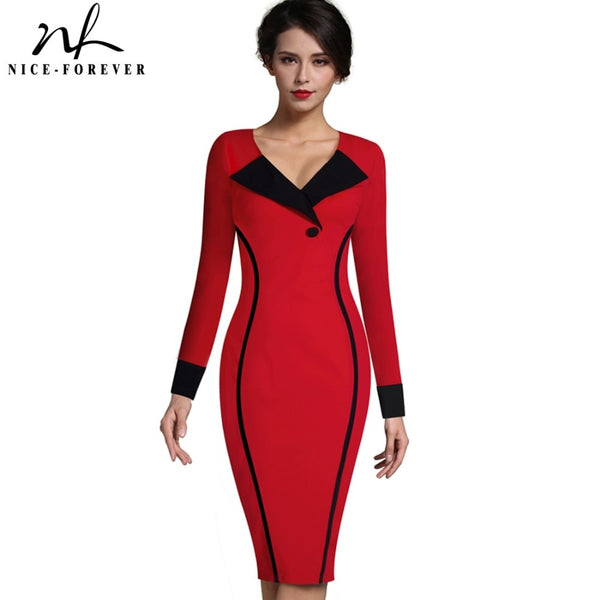 e23e9c8f587 Nice-forever Vintage Mature Elegant Patchwork Button Long Sleeve V-Neck Bodycon  Women Office