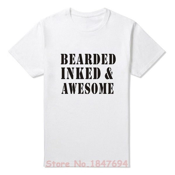 353fa9d368b New summer Bearded Inked and Awesome Funny T Shirts Men Summer Tattoo Lover  Valentine s Day Gift