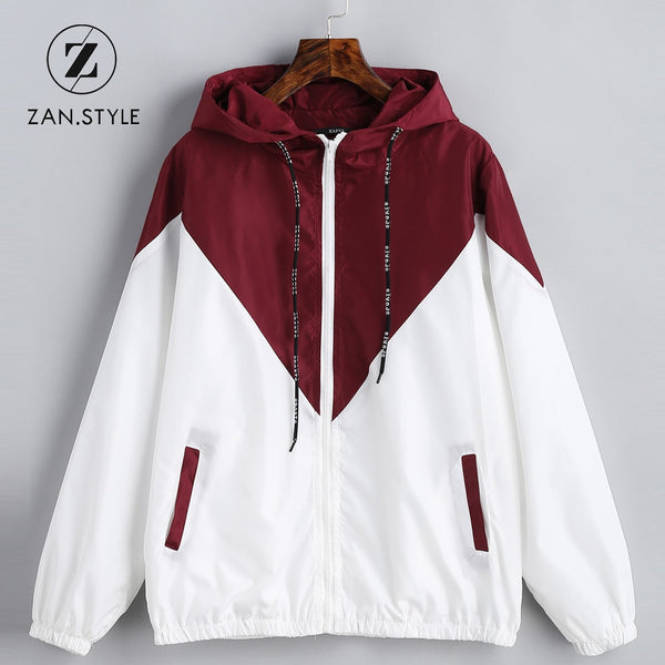 STYLE Spring Autumn Fashion Hooded Two Tone Windbreaker Jacket Zipper  Pockets Casual Long Sleeves 29c7fe2d5