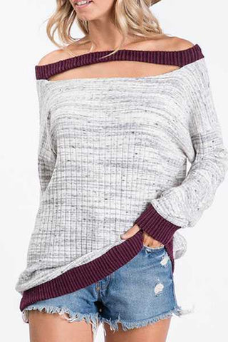 Two Toned Ribbed Long Sleeve