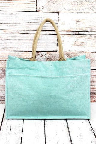Sky Blue Jute Pocket Tote