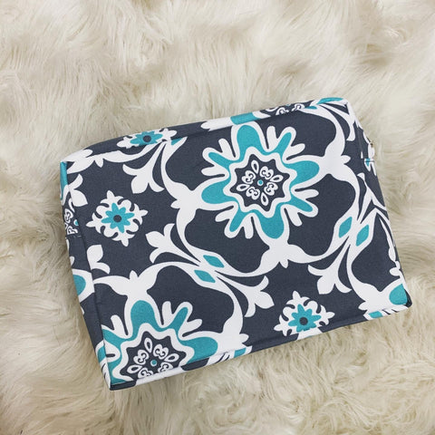 Grey and mint cosmetic bag