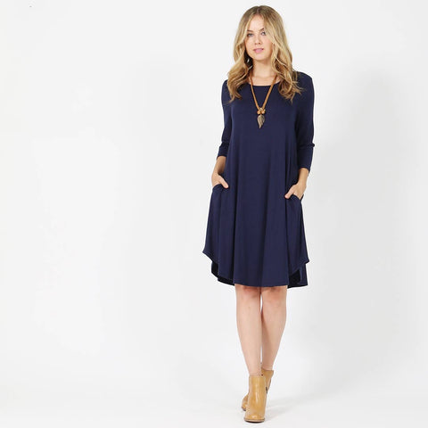 3/4 Sleeve Boat-Neck Two-Pocket Dress