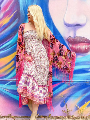 Candy Candy Wide Sleeve Kimono - Pink