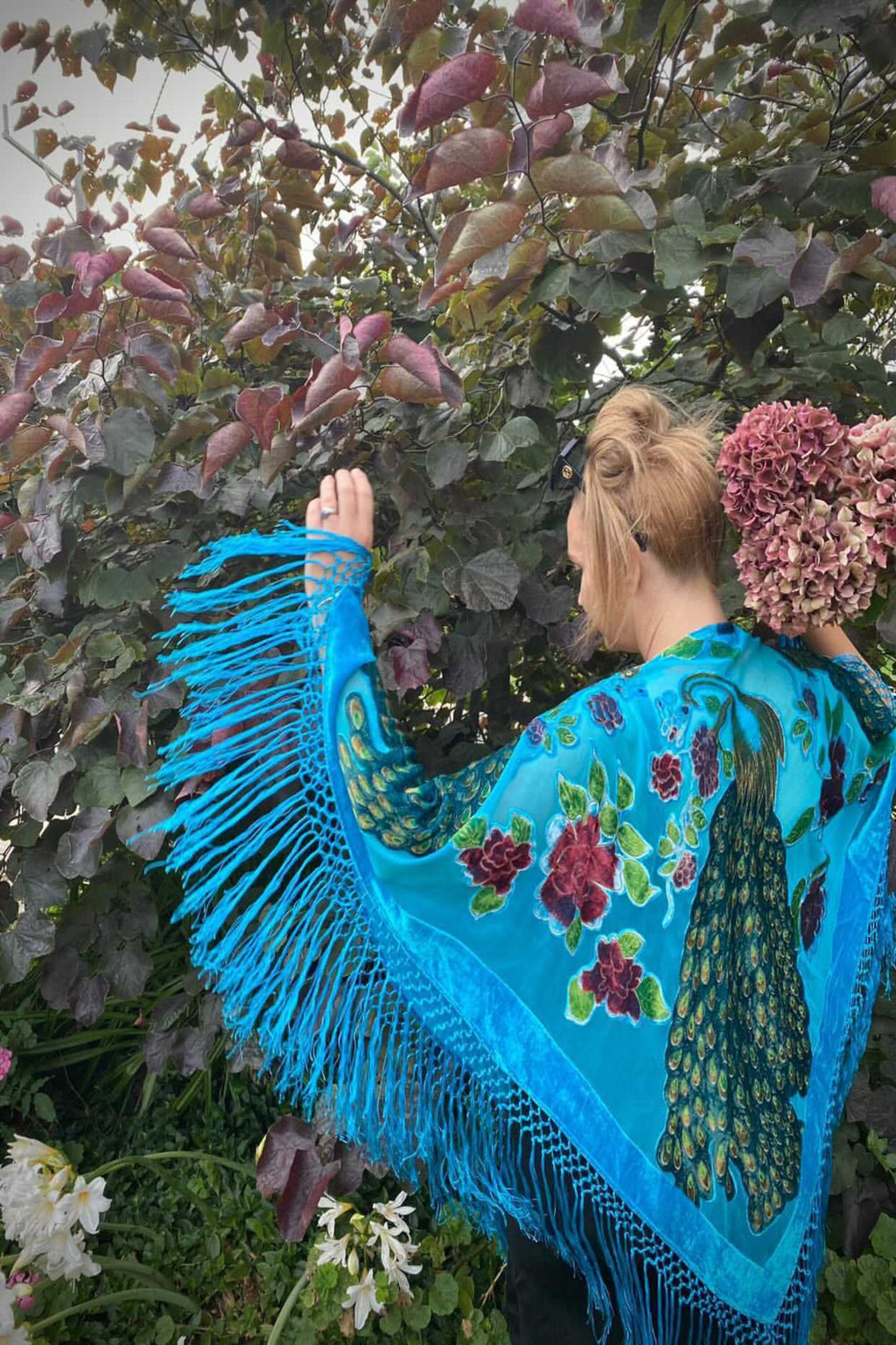 The Gilded Cage Poncho Shawl - Turquoise