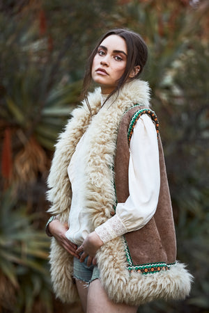 Vintage 1970s Embroidered Shearling Vest