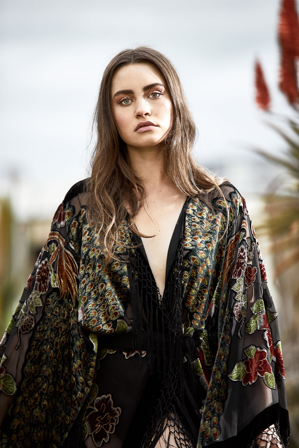 The Gilded Cage Wide Sleeve Kimono - Black