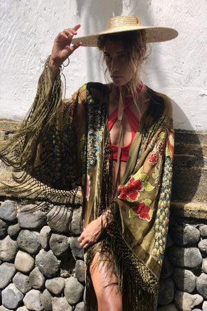 The Gilded Cage Wide Sleeve Kimono - Green