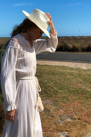 Vintage 1970s Ivory Cotton Gauze Dress With Crochet Yoke