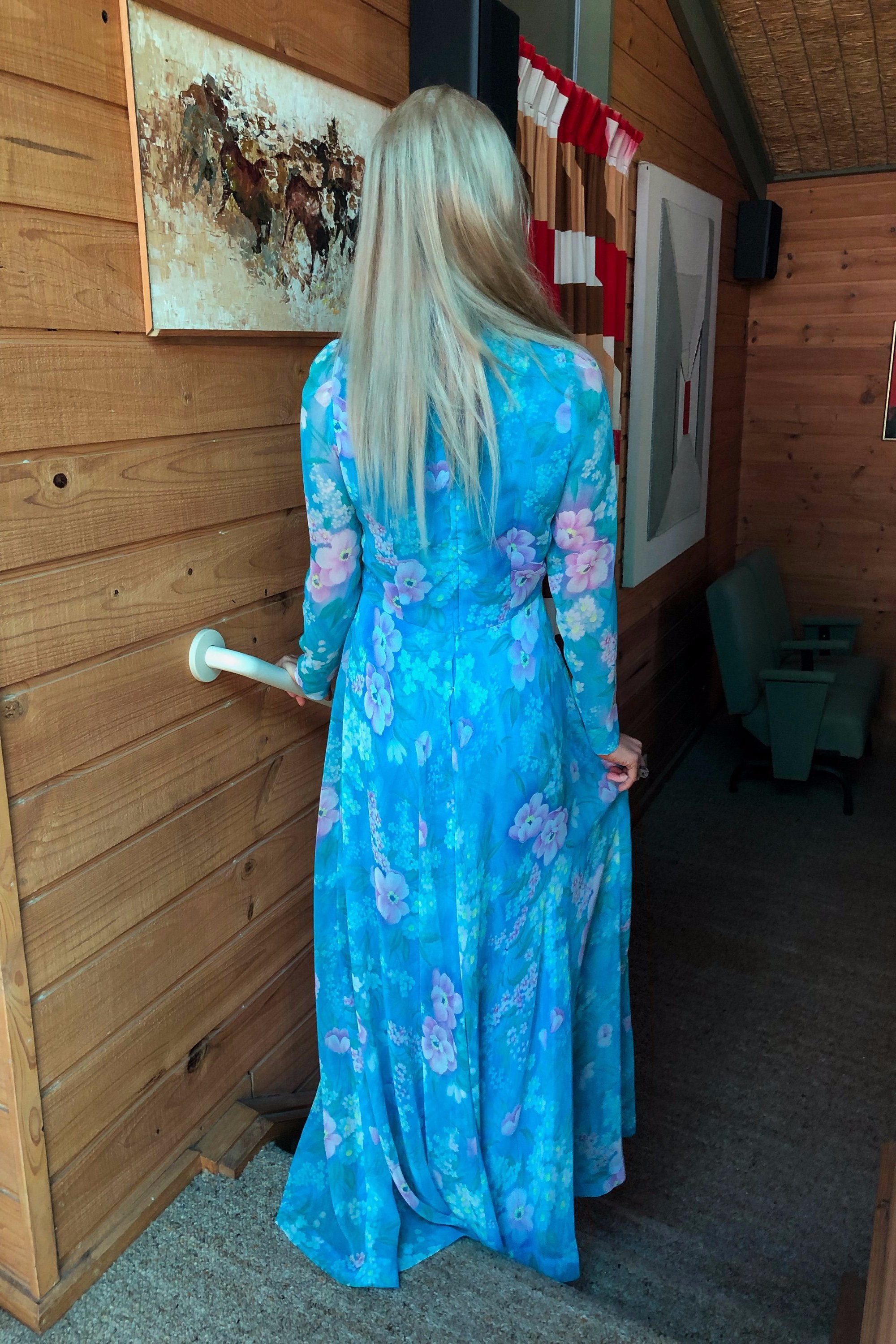 Vintage 1970s Blue Floral Long Sleeve Chiffon Dress