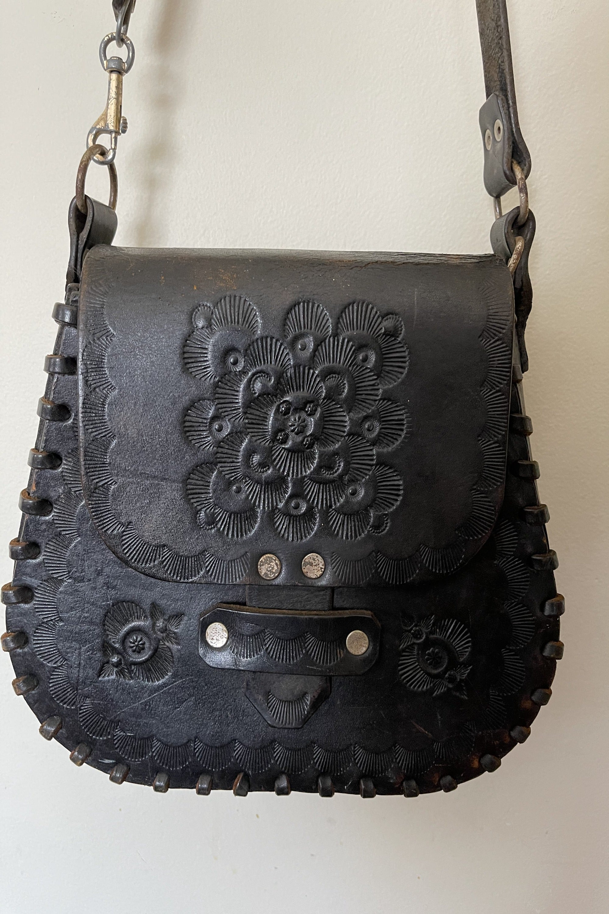 Vintage 1970s Hand Tooled Black Leather Handbag