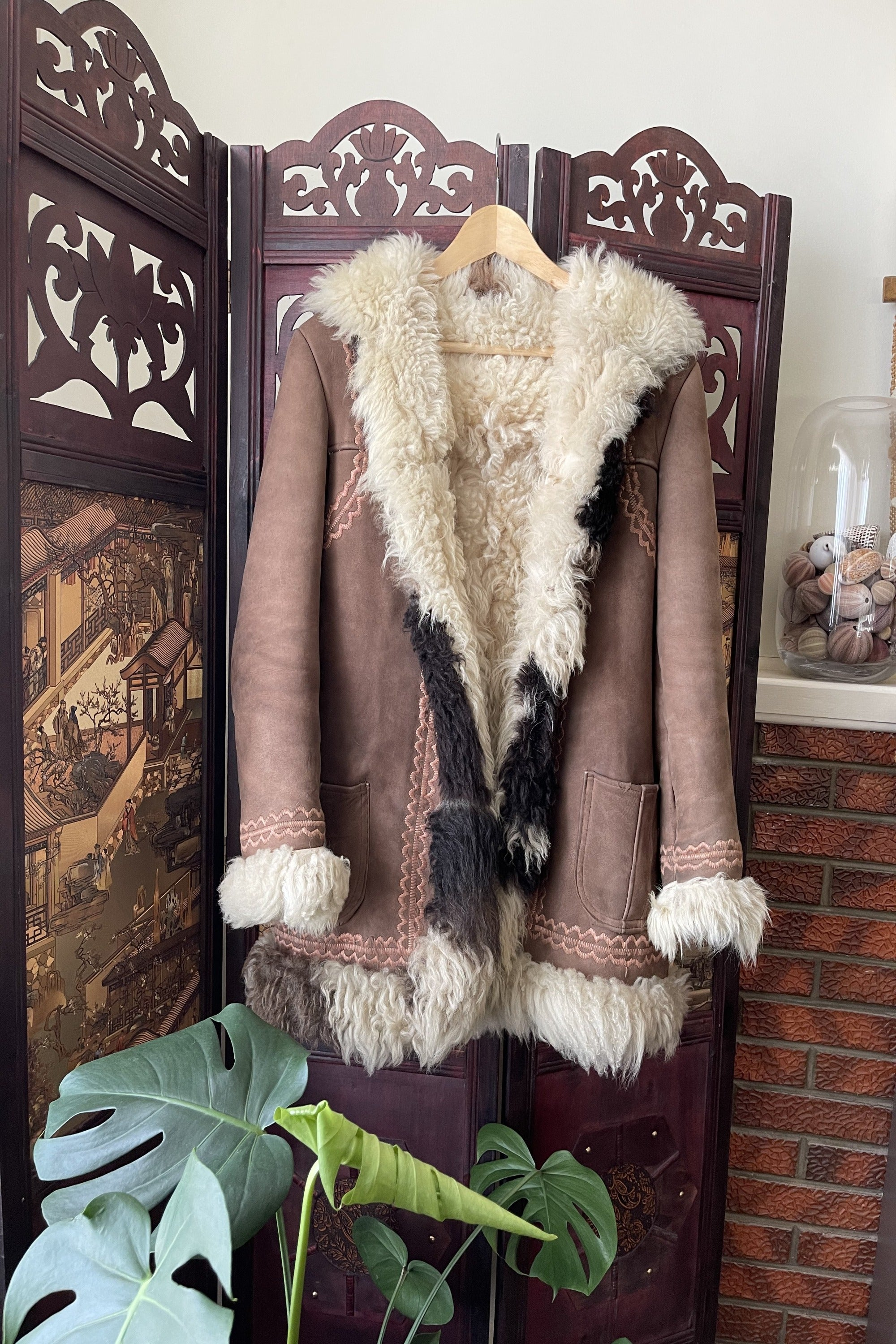 Vintage 1960s Embroidered Shearling Afghan Coat