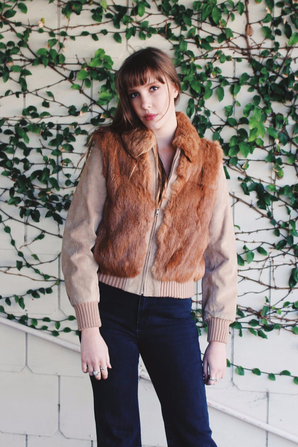 Festival Fur Coat - Bomber Jacket - Bomber Jacket For Women - Vintage Gypsy Jacket - Burning Man Fur Coat - Bohemian Fur Coat - Rabbit Fur