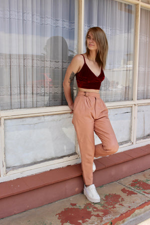 Baggy Pants Woman - Pink Gift For Girlfriend - Boho Festival Pants - Leather Pants - Leather Gift Ideas For Her - Tight Leather Pants