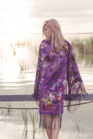 Brides Kimono Robe Lingerie - Bridal Party Kimonos For Gifts - Wedding Kimono Robe Plus Size - Boho Bridal Robes Long - Purple Bridal Kimono