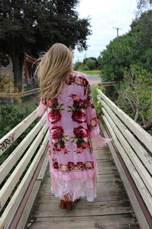 Blush Bridesmaid Robe - Burning Man Festival Clothes - Brides Floral Robes - Pink Summer Kimono - Boho Mother's Day Kimono Robe - Silk Robe