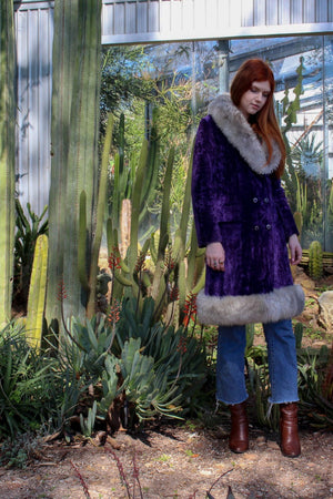 Mongolian Faux Fur Coat - Hippie Velvet Jacket - Penny Lane Coat - Boho Fake Fur Coat - Boho Gypsy Jacket - Almost Famous Coat